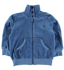 Katvig Zip Cardigan - Velvet - Light Blue w. Zipper