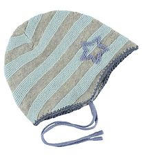 Mini A Ture Baby Hat - Wool/Cotton - Grey/Light Blue w. Star