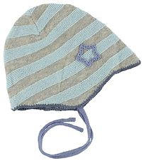 Mini A Ture Hat - Knitted - Wool/Cotton - Blue/Grey Striped