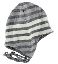 Reima Hat - Knitted - Ahava - Wool/Cotton - Grey Striped