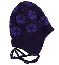 Reima Hat - Knitted - Snygg - Wool/Cotton - Purple w. Clovers
