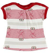 Joha T-shirt - Red Striped w. Cats
