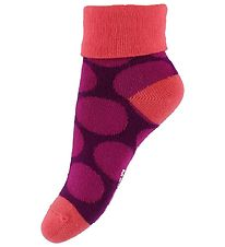 Melton Baby Socks - Purple w. Dots