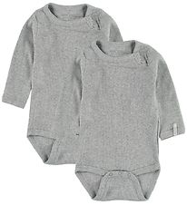 Melton Bodysuit - 2-Pack - L/S - Grey Melange