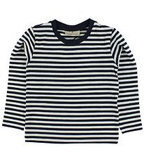 Nordic Label Blouse - White/Navy Striped