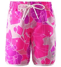 Reima Swim Trunks - Tahiti - UV50 - White w. Pink/Purple Print