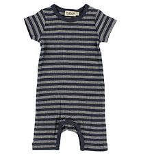MarMar Summer Romper - Rib - Navy/Grey Striped