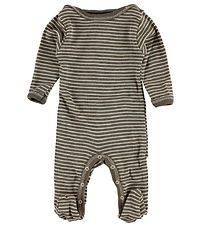Engel Jumpsuit w. Footies - Wool/Silk - Walnut Striped