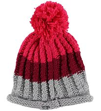 Color Kids Hat w. Pom-Pom - Knitted - Robertu - Grey/Bordeaux/Pi