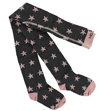 Melton Tights - Wool/Cotton - Charcoal/Rose Powder w. Star