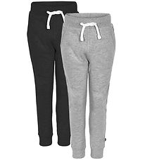 Minymo Sweatpants - 2-Pack - Black/Grey Melange