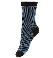 AlbaBaby Socks - Dusty Blue/Brown Check