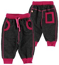 Katvig Sweatpants - Black Melange w. Dark Pink