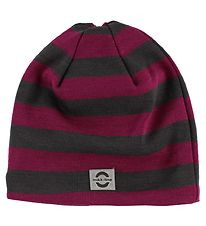 Mikk-Line Hat - Wool/Cotton - Fuchsia/Grey Striped