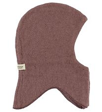 MarMar Balaclava w. Buttons - Wool/Cotton - Double Layer - Dark