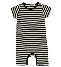 MarMar Summer Romper - Rib - Ivory/Black Striped