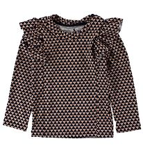 Small Rags Swim Top L/S - UV50+ - Rose/Charcoal Triangles w. Ruf