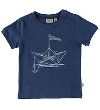 Wheat T-shirt - Dark Blue w. Paperboat