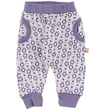 Katvig Classic Trousers - White w. Purple Apples