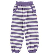 Katvig Trousers - White/Purple Striped