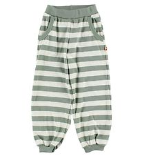Katvig Trousers - White/Dusty Green Striped