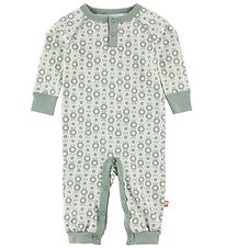 Katvig Classic Jumpsuit - White w. Dusty Green Apples