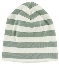 Katvig Beanie - White/Dusty Green Striped