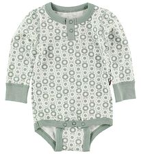 Katvig Classic Bodysuit - L/S - White w. Dusty Green Apples