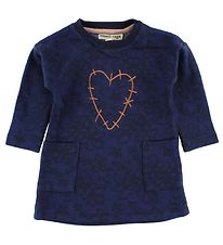Small Rags Dress - Navy w. Flowers/Heart