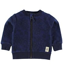Small Rags Zip Cardigan - Navy w. Flowers