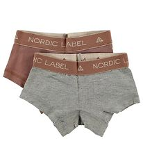 Nordic Label Hipsters - 2-Pack - Grey Melange/Rose
