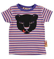 DYR T-shirt - Purple/Rose Striped w. Panther