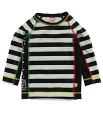 Katvig Classic Swim Top L/S - UV60 - Black/White Striped