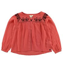 Roxy Blouse - Neon Coral w. Embroidery