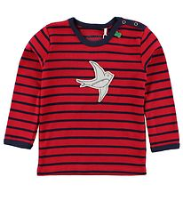 Freds World Blouse - Red/Navy Striped w. Swallow