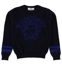 Young Versace Blouse - Wool - Navy w. Logo