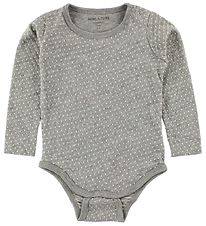 Mini A Ture Bodysuit L/S - Grey Melange w. Dots