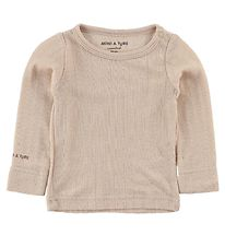 Mini A Ture Blouse - Wool/Bamboo - Powder w. Pointelle