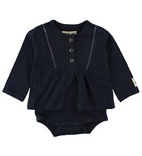 Small Rags Bodysuit w. Skirt L/S - Navy