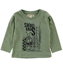 Small Rags Blouse - Green Melange w. Mr. Rags/Electricity Pylons