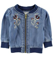 Small Rags Zip Cardigan - Light Denim w. Flowers