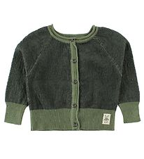 Small Rags Cardigan - Knitted - Dark Green/Dusty Green