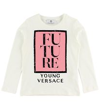 Young Versace Blouse - White w. Rose Print/Sequins