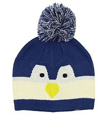Color Kids Hat w. Pom-Pom - Knitted - Kisso - Navy/Penguin