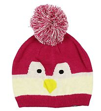 Color Kids Hat w. Pom-Pom - Knitted - Kisso - Dark Pink/Penguin