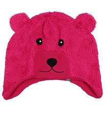 Color Kids Hat - Kippo - Fleece - Dark Pink Bear