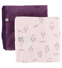 Pippi Blanket - 70x70 - 2-Pack - Purple/Rose w. Hearts/Butterfly