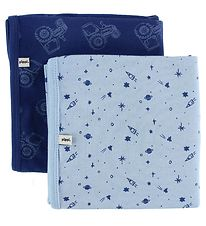 Pippi Blanket - 70x70 - 2-Pack - Navy/Light Blue w. Tractor/Spac