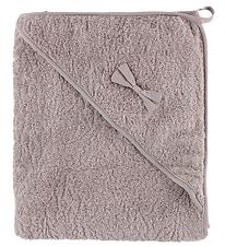 Pippi Hooded Towel - 83x83 - Dusty Rose w. Bow