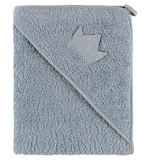 Pippi Hooded Towel - 83x83 - Light Blue w. Crown